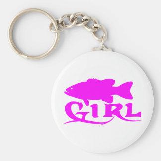 GIRL BASS FISHING KEYCHAIN
