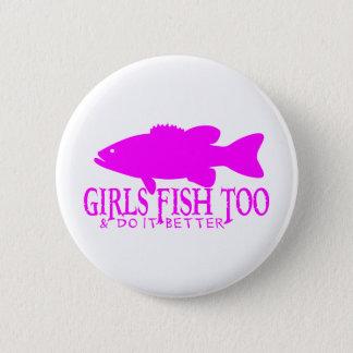 GIRL BASS FISHING PINBACK BUTTON