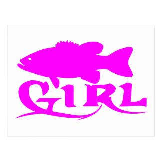 GIRL BASS FISHING POSTCARD