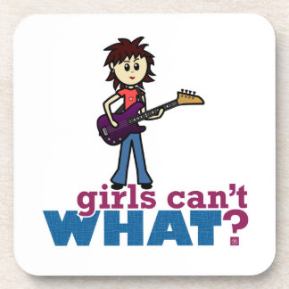 Girl Bass Guitar Player Beverage Coaster