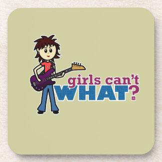 Girl Bass Guitar Player Drink Coaster