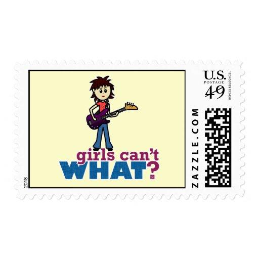 Girl Bass Guitar Player Stamps