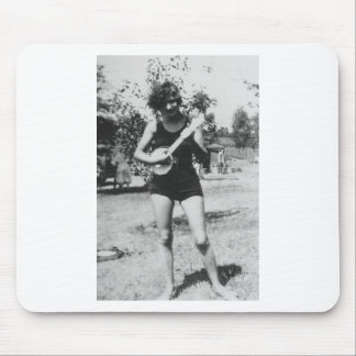 Girl bathing suit beauty playing banjo 1920's mouse pad
