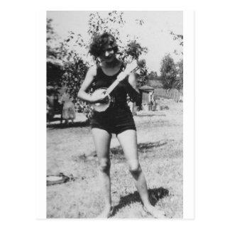 Girl bathing suit beauty playing banjo 1920's postcard