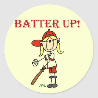 Girl Batter Up Baseball Tshirts and Gifts Classic Round Sticker