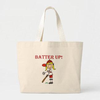 Girl Batter Up Baseball Tshirts and Gifts Large Tote Bag