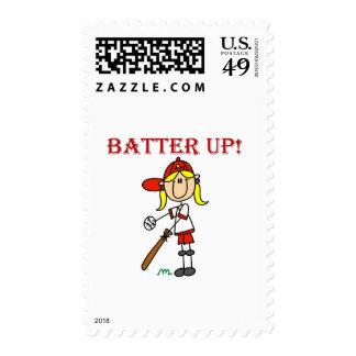 Girl Batter Up Baseball Tshirts and Gifts Postage Stamp