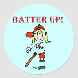 Girl Batter Up Tshirts and Gifts Classic Round Sticker