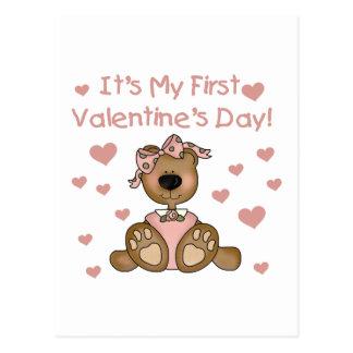 Girl Bear 1st Valentine's Day Postcard