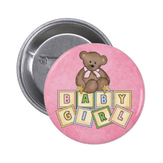 Girl Bear  Baby Blocks Button
