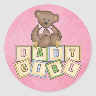 Girl Bear  Baby Blocks Classic Round Sticker