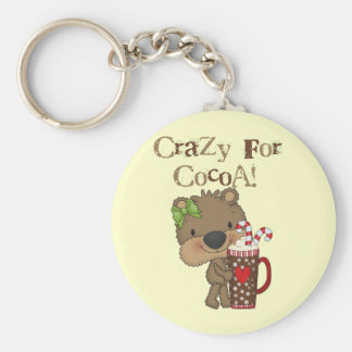 Girl Bear Crazy For Cocoa Basic Round Button Keychain