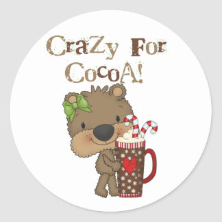 Girl Bear Crazy For Cocoa Classic Round Sticker