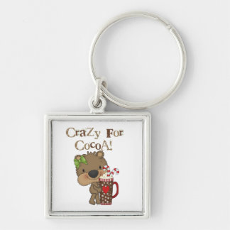 Girl Bear Crazy For Cocoa Silver-Colored Square Keychain