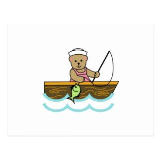 GIRL BEAR FISHING POSTCARD