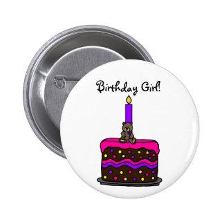 Girl bear on birthday cake - Customized Pinback Button