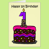 girl bear on cake 1st birthday card
