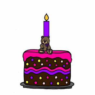 girl bear on cake happy birthday white statuette