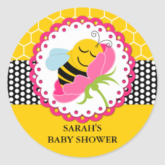 Girl Bee Baby Shower Personalized Stickers