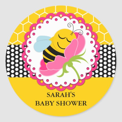 girl bee baby shower personalized stickers zazzle