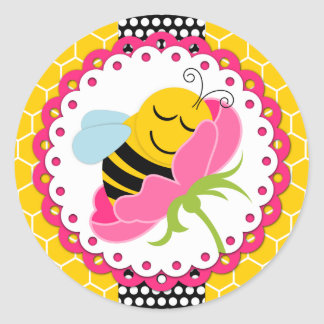 Girl Bee Baby Shower Stickers