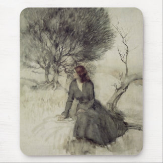 Girl Beside a Stream Mouse Pad