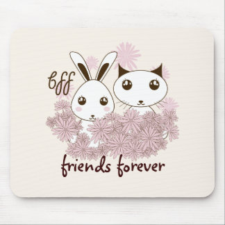 Girl Best Friends Cute Animal Personalized Kids Mouse Pad