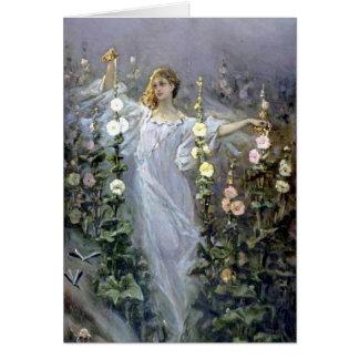 Girl Between Hollyhocks - Wilhelm Kotarbinski Card
