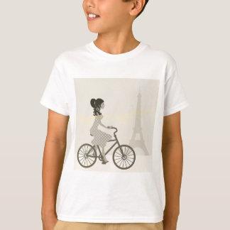 Girl Bicycle in Paris, Woman Cycling eiffel tower T-Shirt