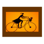 Girl Bicycle Riding  Post Card