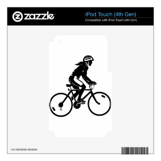 Girl Bike Rider With Helmet Decals For iPod Touch 4G