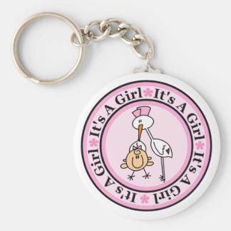 Girl Birth Announcement Keychain