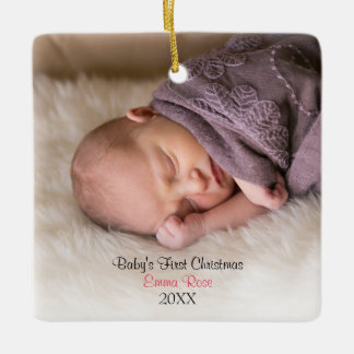 Girl Birth Announcement Two Sided Photo Ornament