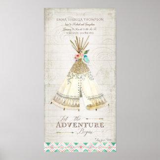 Girl Birth Info Tribal Boho Adventure Teepee Arrow Poster
