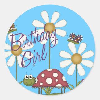 Girl Birthday Bugs Classic Round Sticker