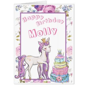Girl Birthday Gift Gold Unicorn Custom Personalize Card