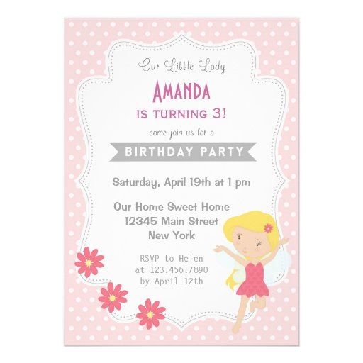 Girl Birthday Invitation Sweet Pink Fairy Spring Custom Announcement