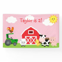 Girl Birthday Party Backdrop Banner (Farm Animal)