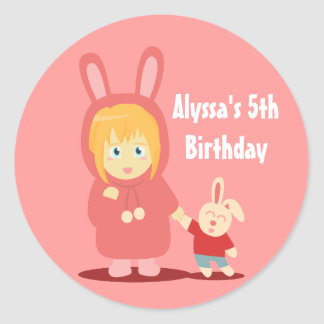 Girl Birthday Party: Girl in bunny hoodie outfit Classic Round Sticker
