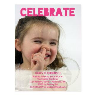 Girl Birthday Party Photo Invitations