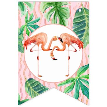 Beach Themed Girl Birthday Party Pink Flamingo Leaf Watercolor Bunting Flags