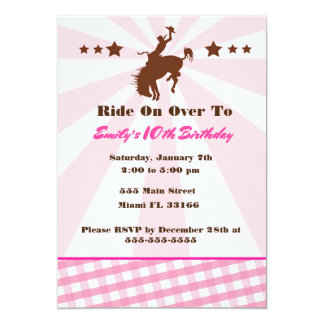 Girl Birthday Rodeo Cowgirl Invitation Pink Brown
