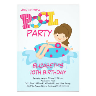 Girl Birthday Summer Pool Party Invitation