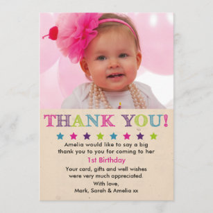 girl birthday thank you card - First Birthday Thank You Cards