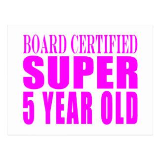 Girl Birthdays Board Certified Super Five Year Old Postcard
