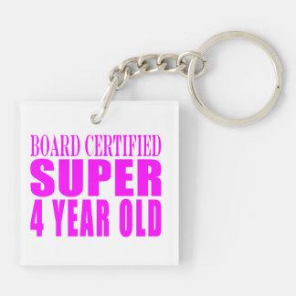 Girl Birthdays Board Certified Super Four Year Old Keychain