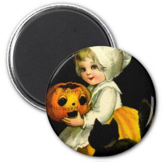 Girl & Black Cat 2 Inch Round Magnet