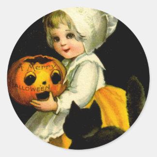 Girl & Black Cat Classic Round Sticker