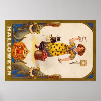 Girl Black Cat Jack O' Lantern Poster