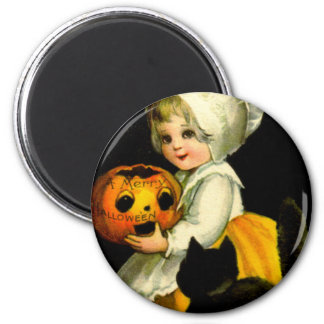 Girl & Black Cat 2 Inch Round Magnet